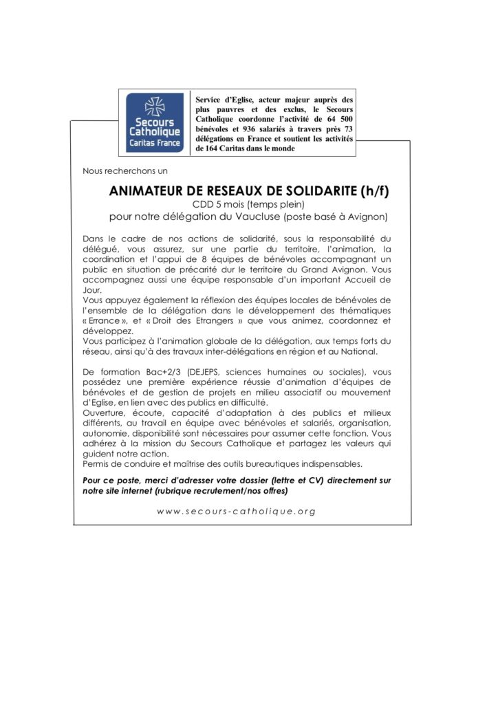 Le Secours Catholique – Délégation du Vaucluse recrute un animateur de réseaux de solidarité