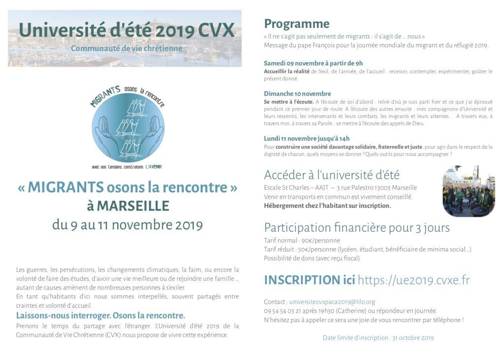 Université d'été 2019 CVX - Accueillir la réalité @ MARSEILLE - Espace St Charles