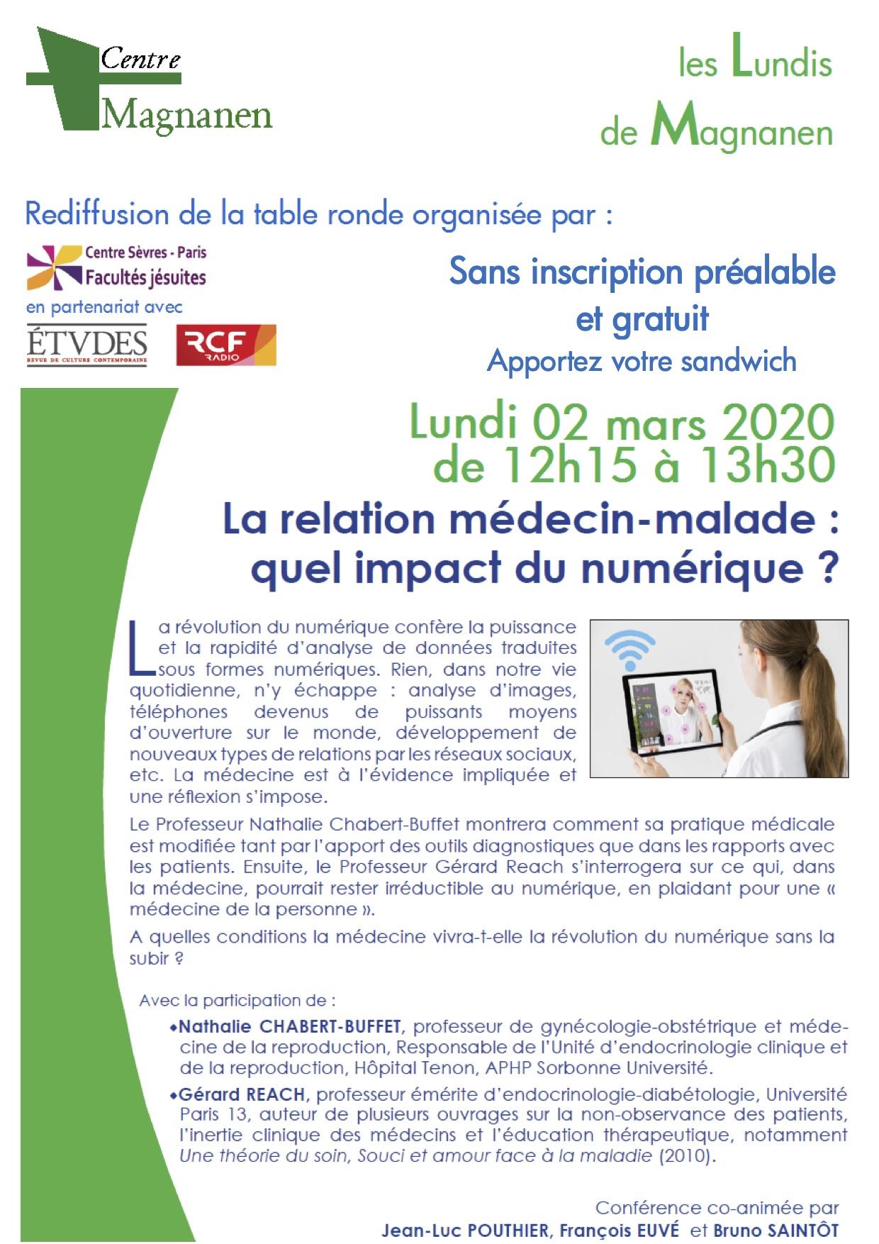 Lundis de Magnanen - «La relation médecin-malade: quel impact du numérique? »
