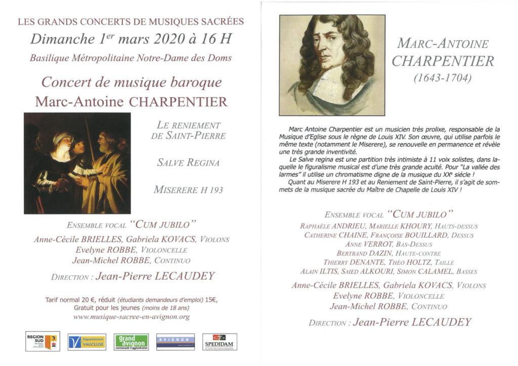 Musique sacrée - Concert de musique baroque - Marc Antoine CHARPENTIER @ Notre Dame des Doms - Avignon
